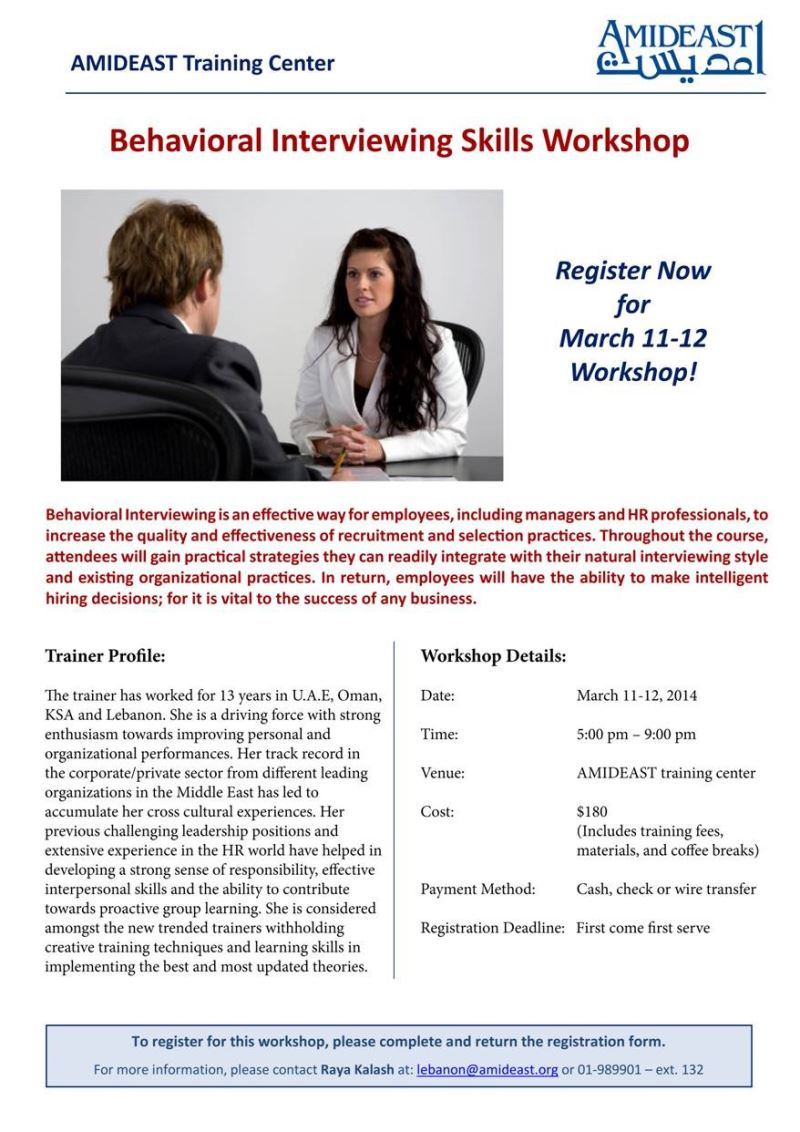 amideast hr series workshop topic behavioral hr series workshop topic behavioral interviewing skills at amideast training center